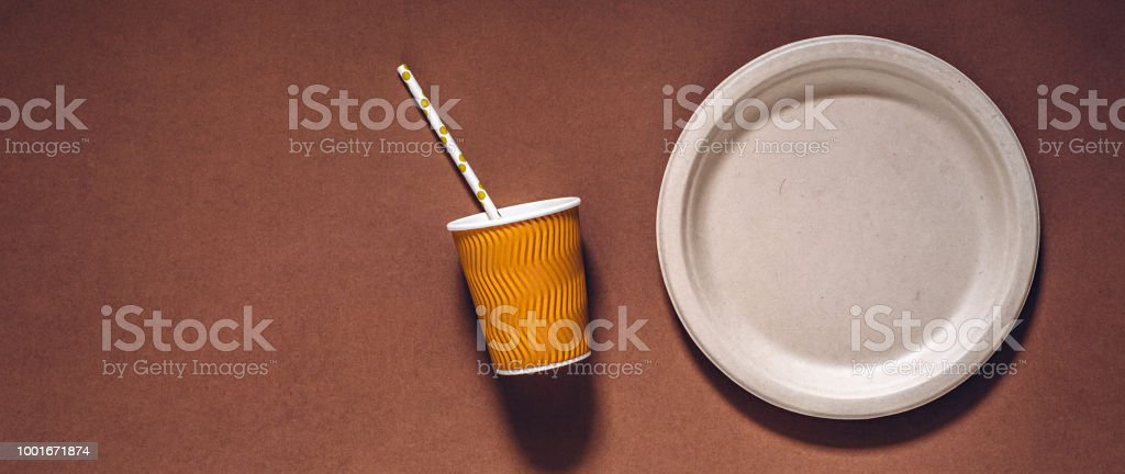 Biodegradable and compostable disposable paper plate, cup and drinking straw stock photo