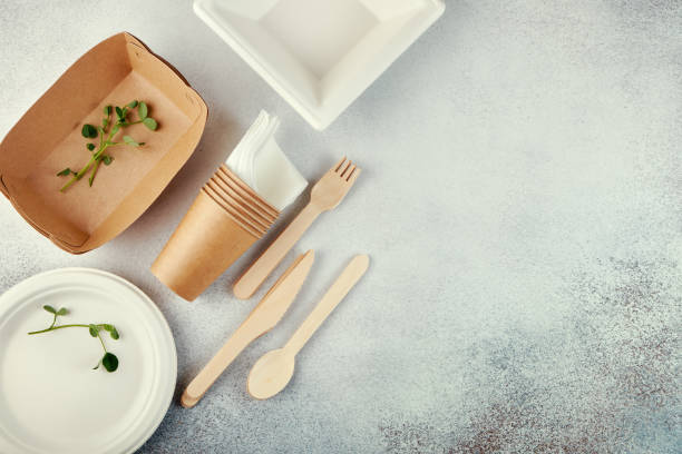 Biodegradable disposable tableware. Paper plates, cups, boxes. Wooden cutlery. Flat lay Biodegradable disposable tableware. Paper plates, cups, boxes. Wooden cutlery. Flat lay disposable stock pictures, royalty-free photos & images