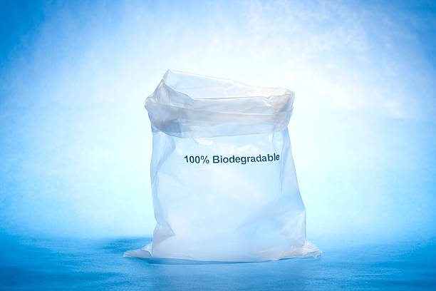 Biodegradable plastic bag stock photo