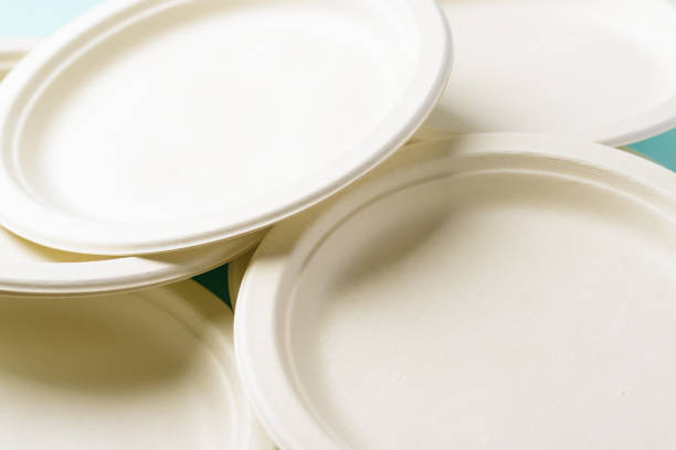 Biodegradable plate, Compostable plate or Eco friendly disposable plate stock photo