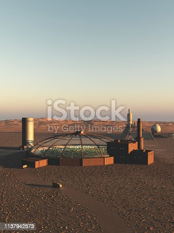Science fiction illustration of a biodome on an alien desert planet, 3d digitally rendered illustration