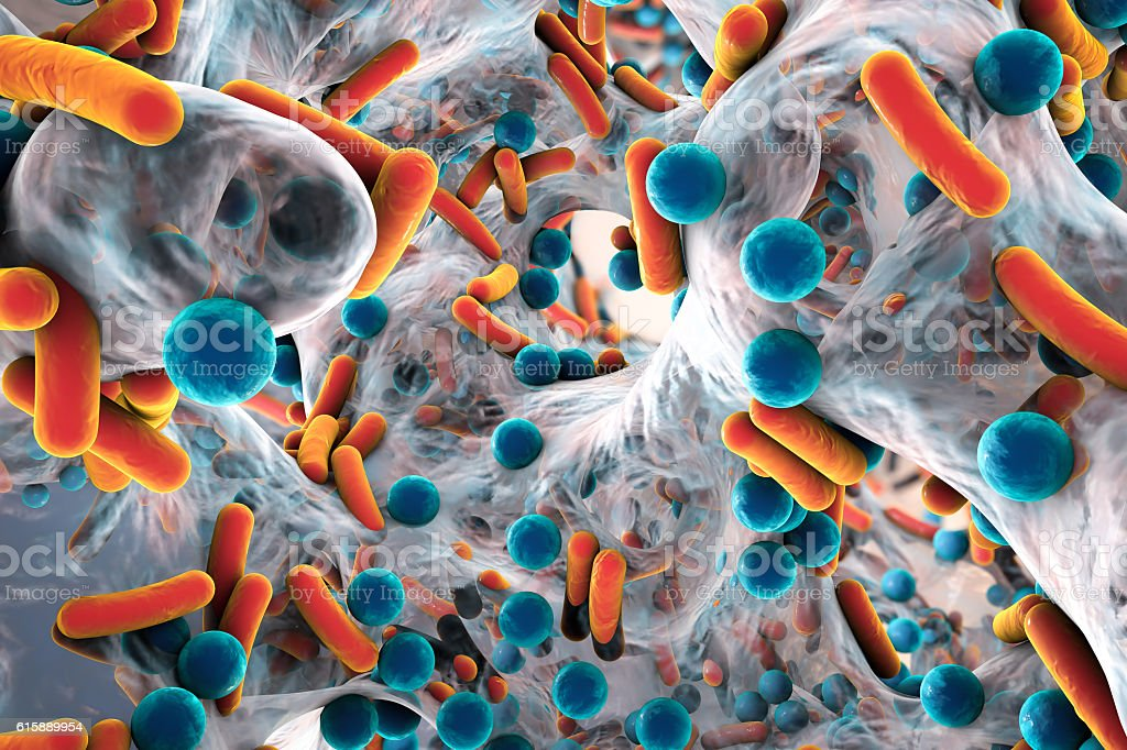 Biofilm of antibiotic resistant bacteria stock photo