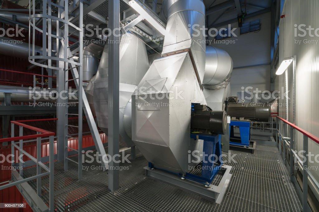 Biofuel boiler flue gas ventilator stock photo