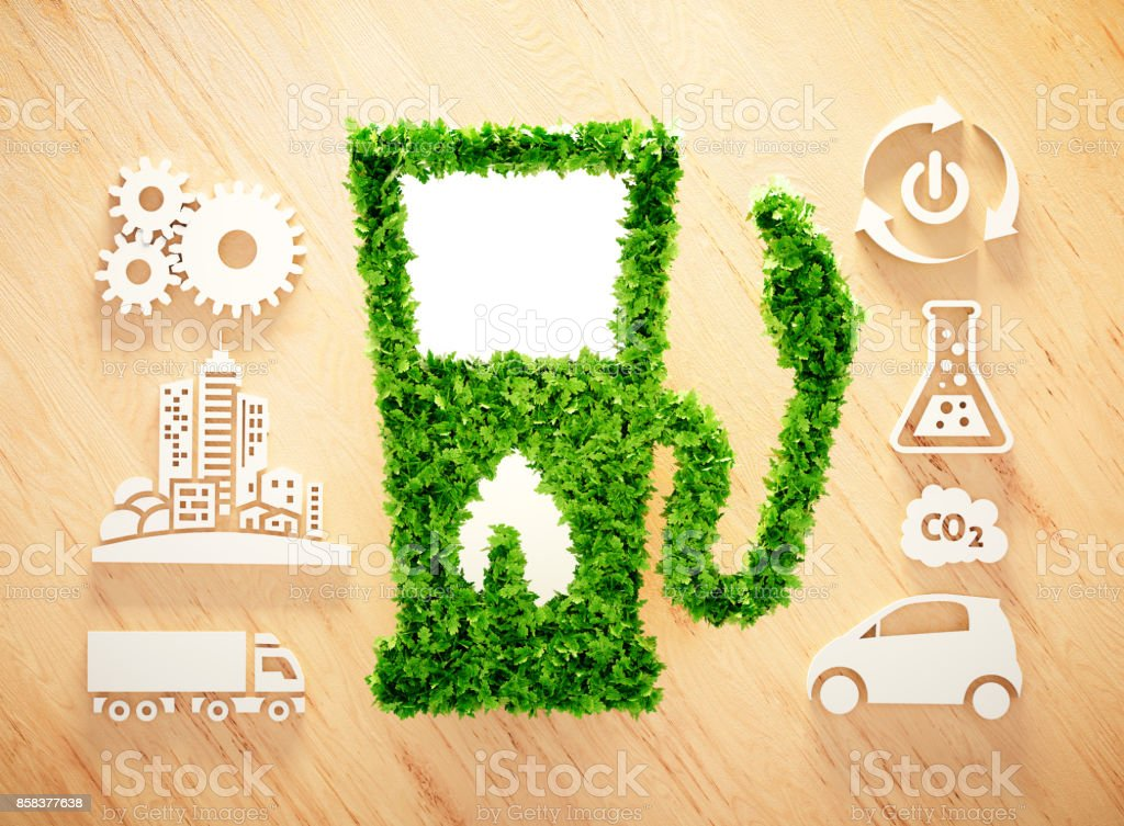 Biofuel concept on wooden background. 3d illustration. stock photo