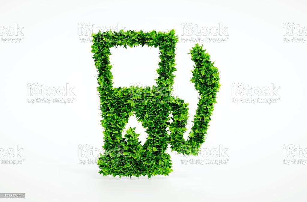 Biokraftstoff-Tankstelle isoliert auf weiss. 3D Illustration. – Foto
