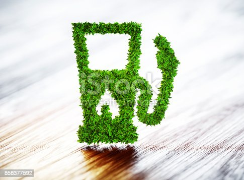 istock Biofuel gas station on wooden background. 3d illustration. 858377592