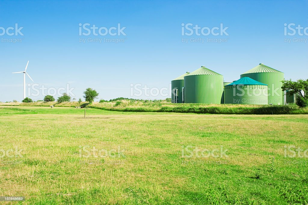 Biogas and windenergy stock photo