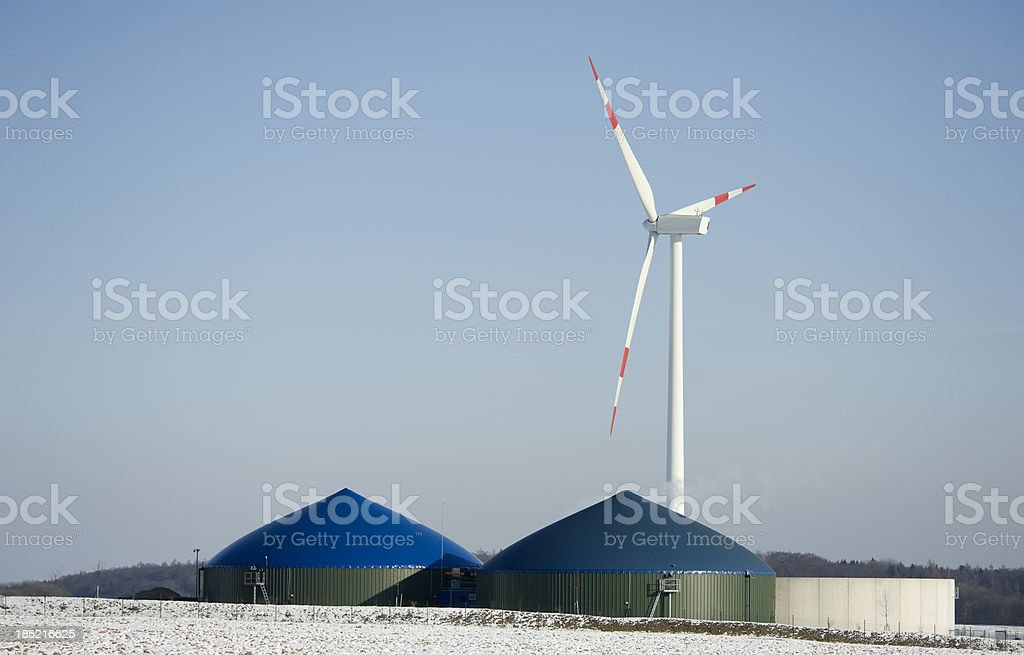 Biogas energy Germany in the winter stock photo