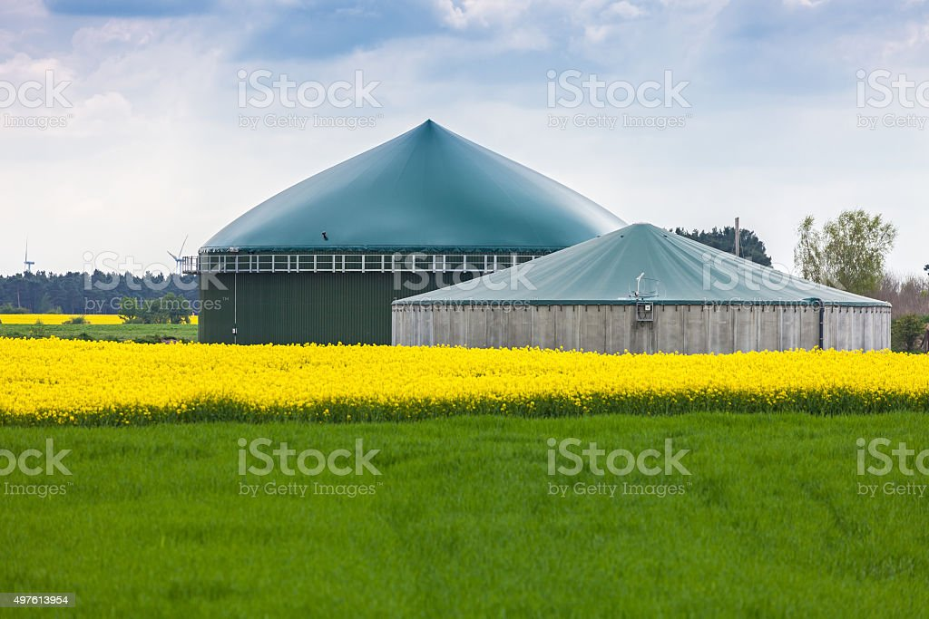 Biogas plant stock photo