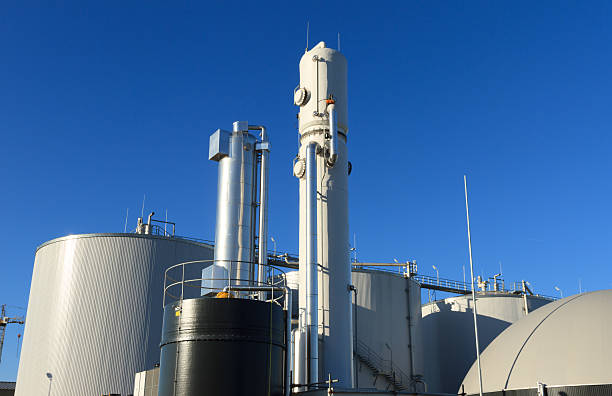 Biogas plant against a blue sky stock photo