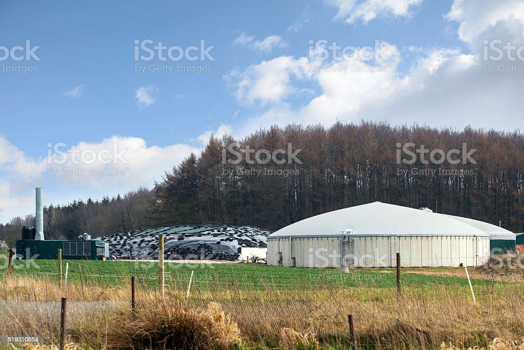 biogas plant for renewable energies between field and forest, bl stock photo