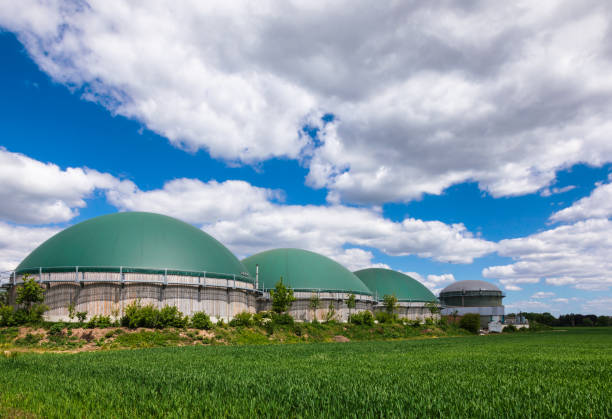 Biogas plant in rural Germany Biofuel Industry concept stock photo