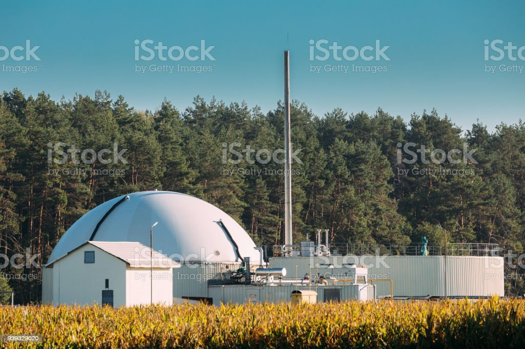 Biogas Plant Or Bioreactor For Fermentation Of Chicken Manure stock photo