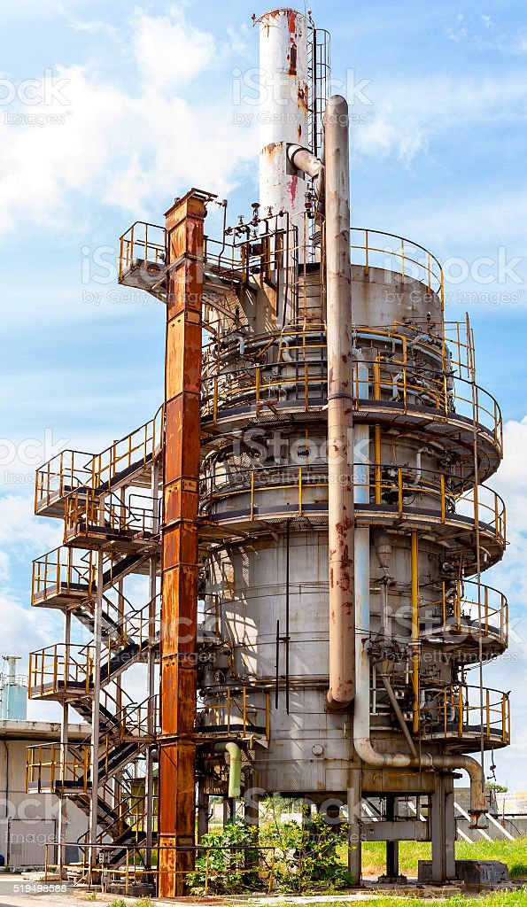 biogas torch into disuse in a waste water treatment plant stock photo