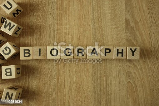 istock Biography word from wooden blocks 1140981934