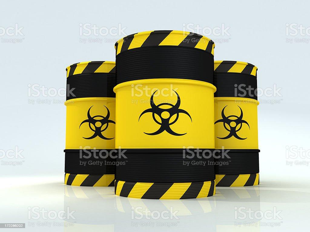 Biohazard barrels stock photo