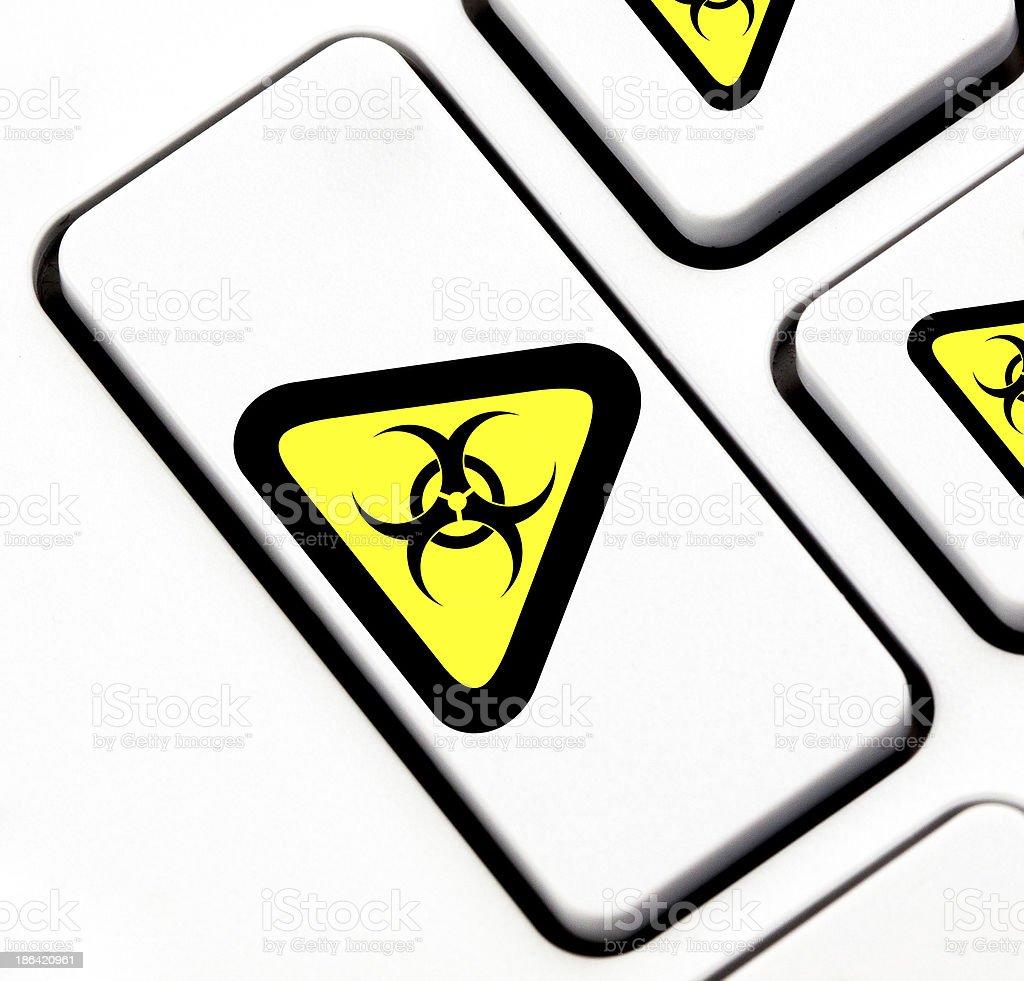 Biohazard button on keyboard stock photo