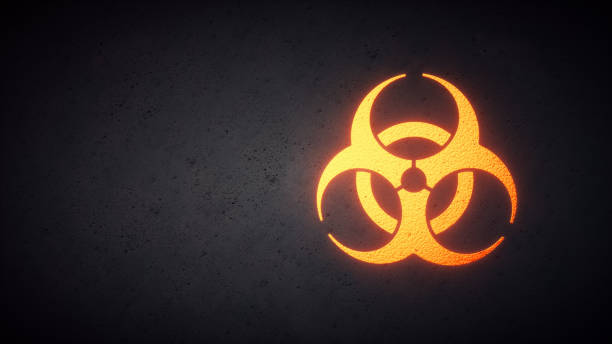Biohazard Design Yellow A simple biological hazard design, with a yellow biohazard symbol on a concrete background. Internationally used symbol for biological and chemical threat posed by viruses, toxic material and waste. decontamination stock pictures, royalty-free photos & images