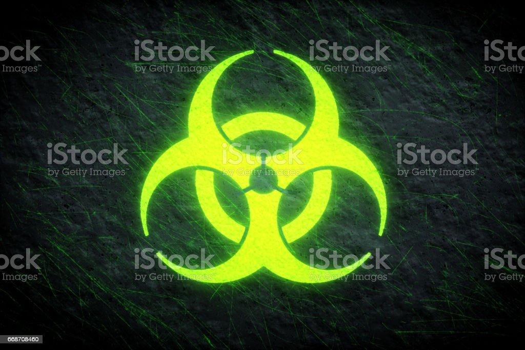 Biohazard leuchtenden Symbol grün – Foto