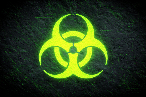 Biohazard Glowing Symbol Green Stock Photo & More Pictures ...