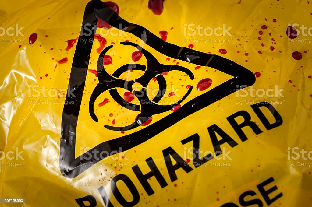 Biohazard logo and splattered blood stock photo