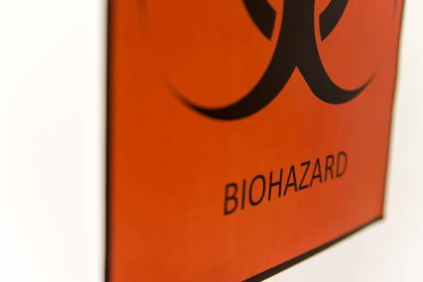 Biohazard sign at laboratory stock photo