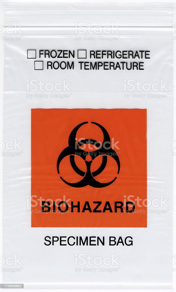 Biohazard Specimen Bag stock photo