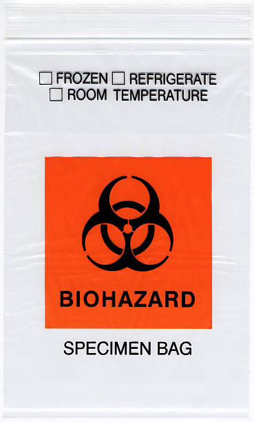 Biohazard Specimen Bag High resolution scan of a Biohazard Specimen Bag. specimen holder stock pictures, royalty-free photos & images