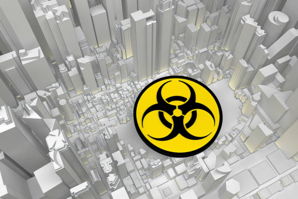 biohazard symbol in abstract city stock photo