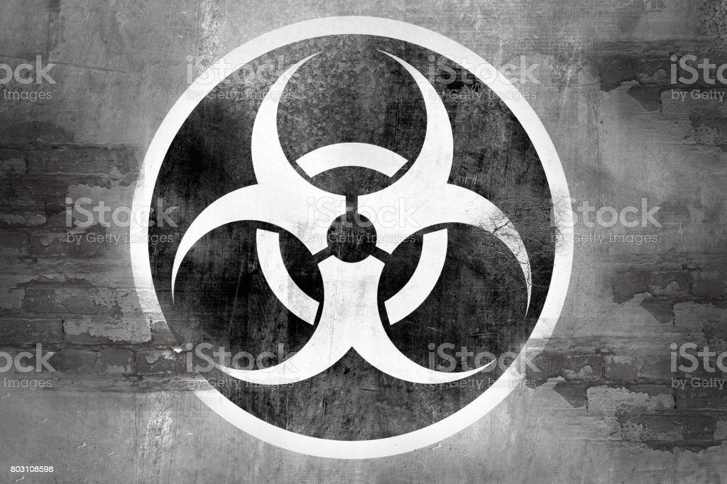 Biohazard Symbol On Wall Stock Photo More Pictures Of Backdrop