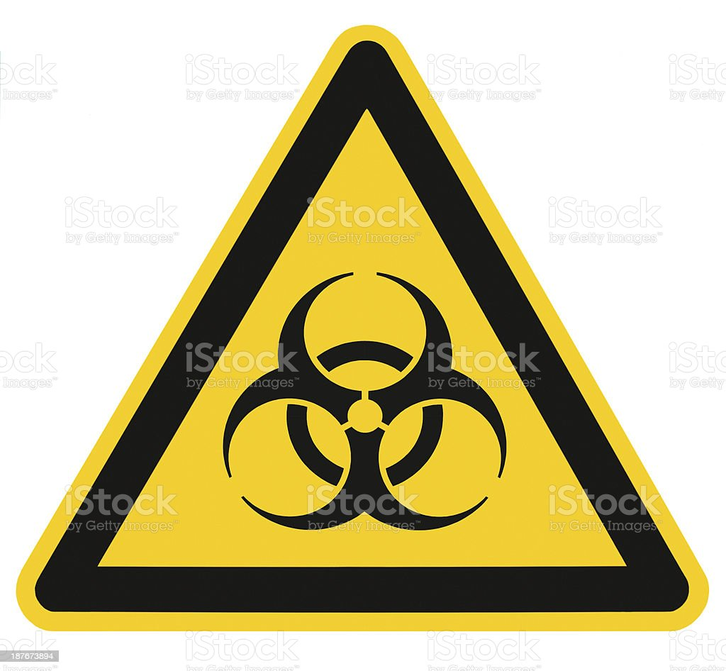 Biohazard symbol sign biological threat alert isolated black yellow signage stock photo