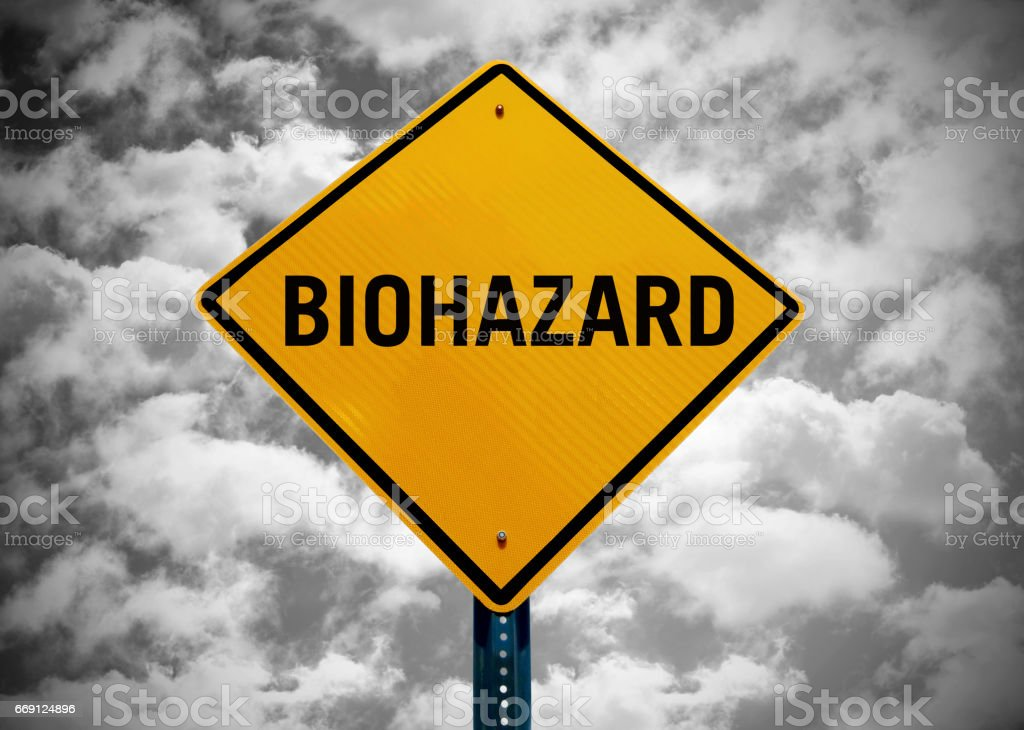 'biohazard' traffic sign stock photo