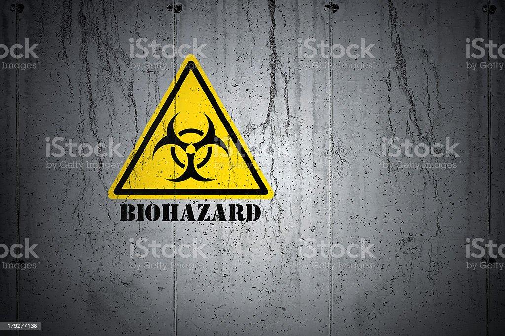 Biohazard Warning on Grunge Wall stock photo