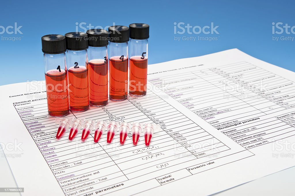Biological or chemical compounds to test stock photo