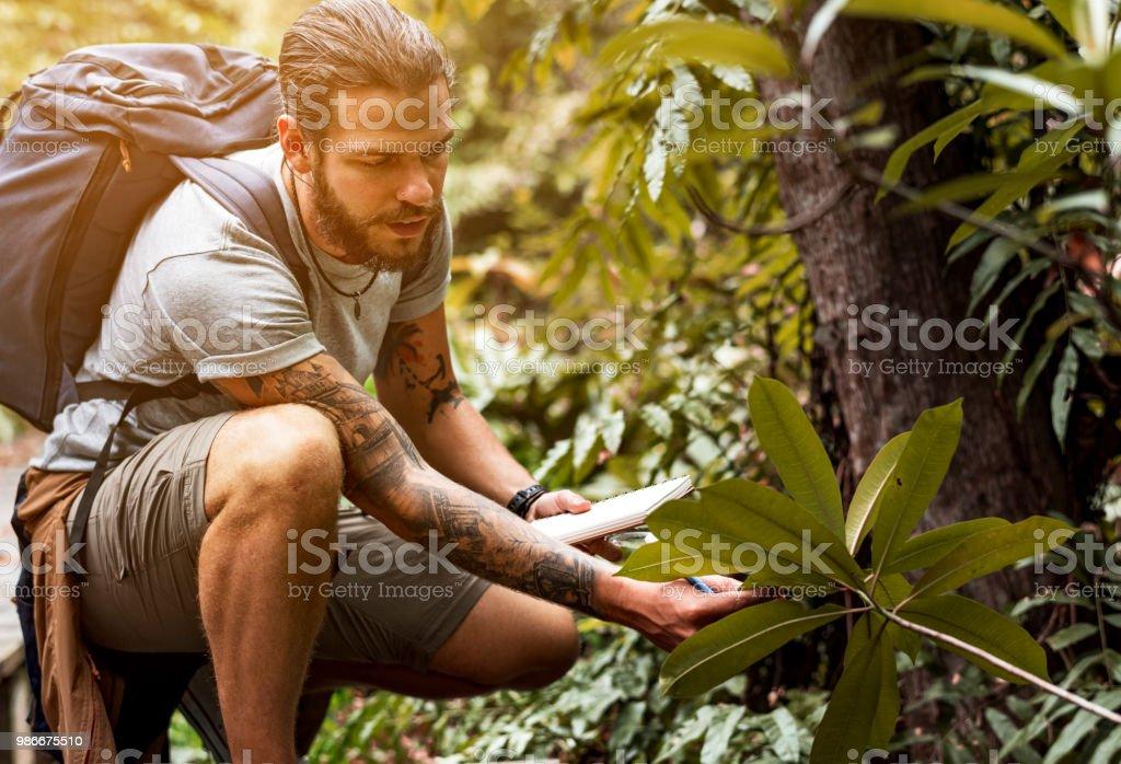 Biologiste dans une forêt - Photo