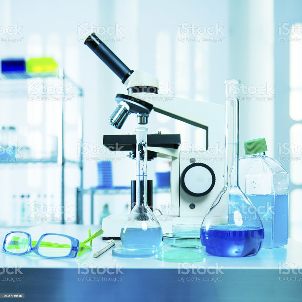 Biology investigation in laboratory stock photo