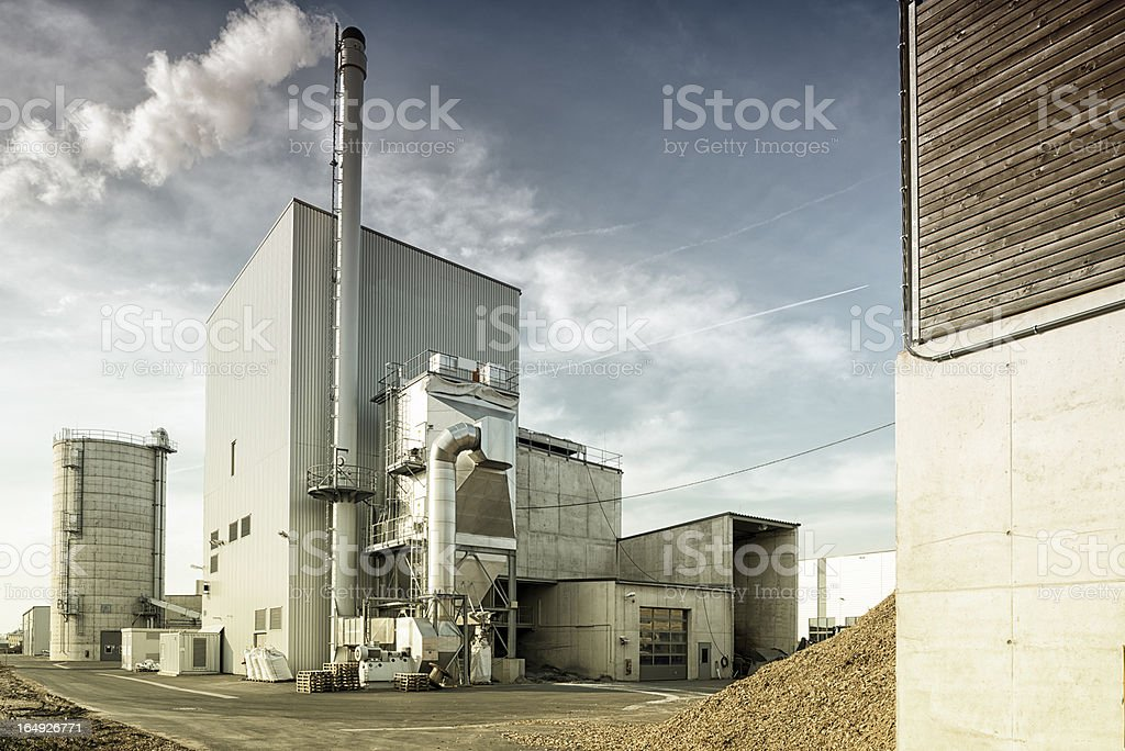 Biomass plant, Fernwaerme, Blockheizkraftwerk, Energiewende, Germany stock photo
