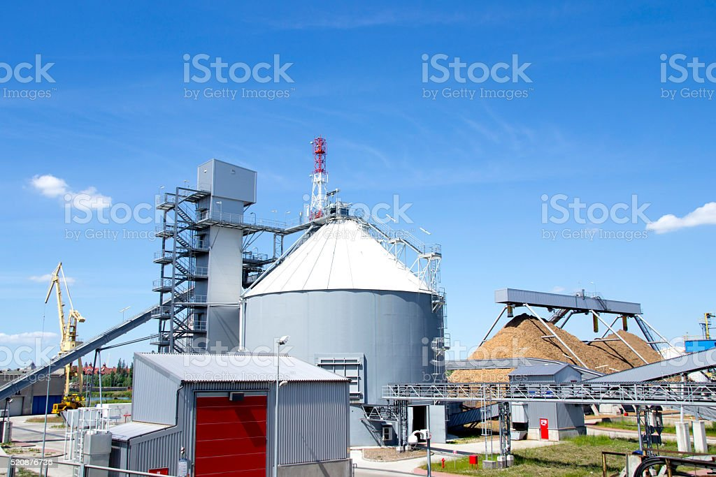 Biomass power plant stock photo