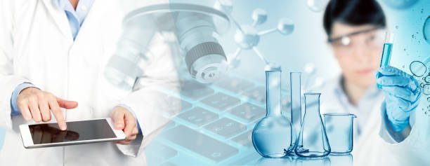 biomedical research concept - medical research stock photos and pictures
