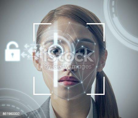 851960146 istock photo biometric authentication concept. facial recognition system. iris authentication system. 851960002