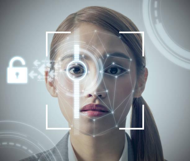 biometric authentication concept. facial recognition system. iris authentication system. - going inside eye imagens e fotografias de stock