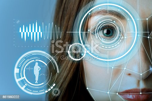 istock biometric authentication concept. facial recognition system. iris authentication system. 851960222