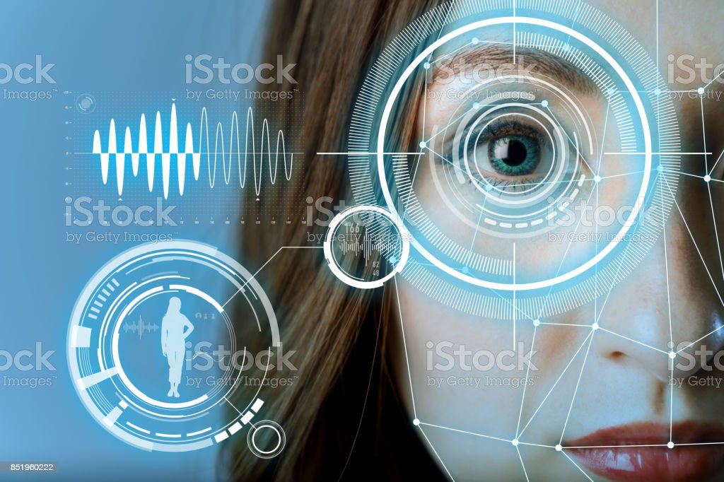 biometric authentication concept. facial recognition system. iris authentication system. stock photo