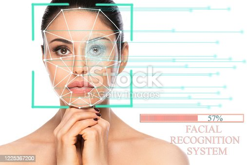 861189748 istock photo Biometric authentication concept. Facial recognition system of beautiful woman on white background 1225367200
