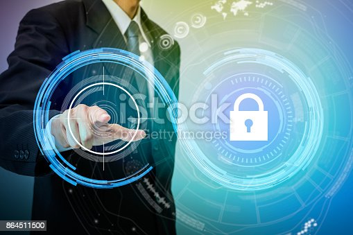 istock biometric authentication concept. mixed media. 864511500