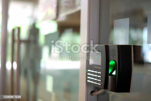 istock Biometric Fingerprint Scanner. 1058987638