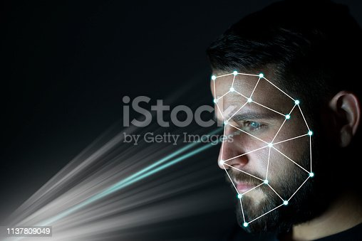 851960142 istock photo Biometric identification and verification face detection concept. Facial recognition system. Unlocking technology. 1137809049