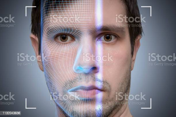 Biometric Scanner Is Scanning Face Of Young Man Artificial Intelligence Concept Stock Photo - Download Image Now