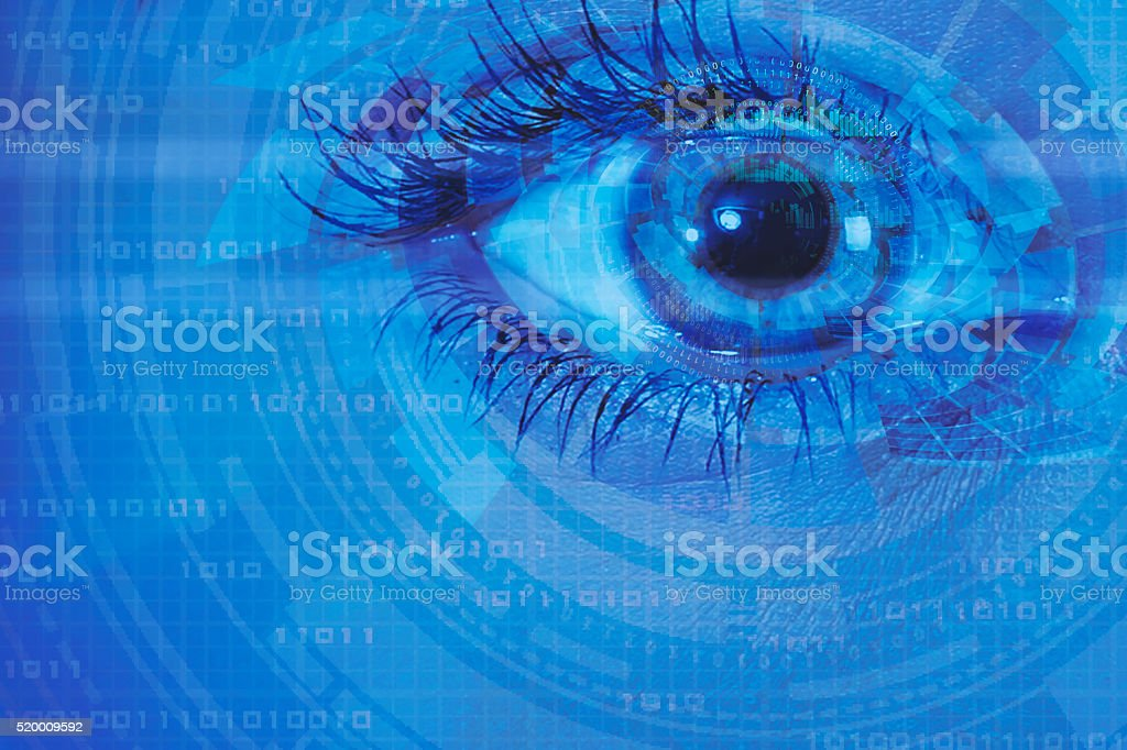 biometric screening eye and circuit binary internet concept stock photo