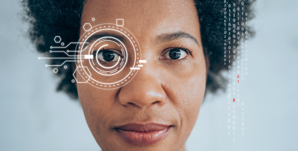 Security biometric retina scanner on woman's eye. Artificial intelligence concept.